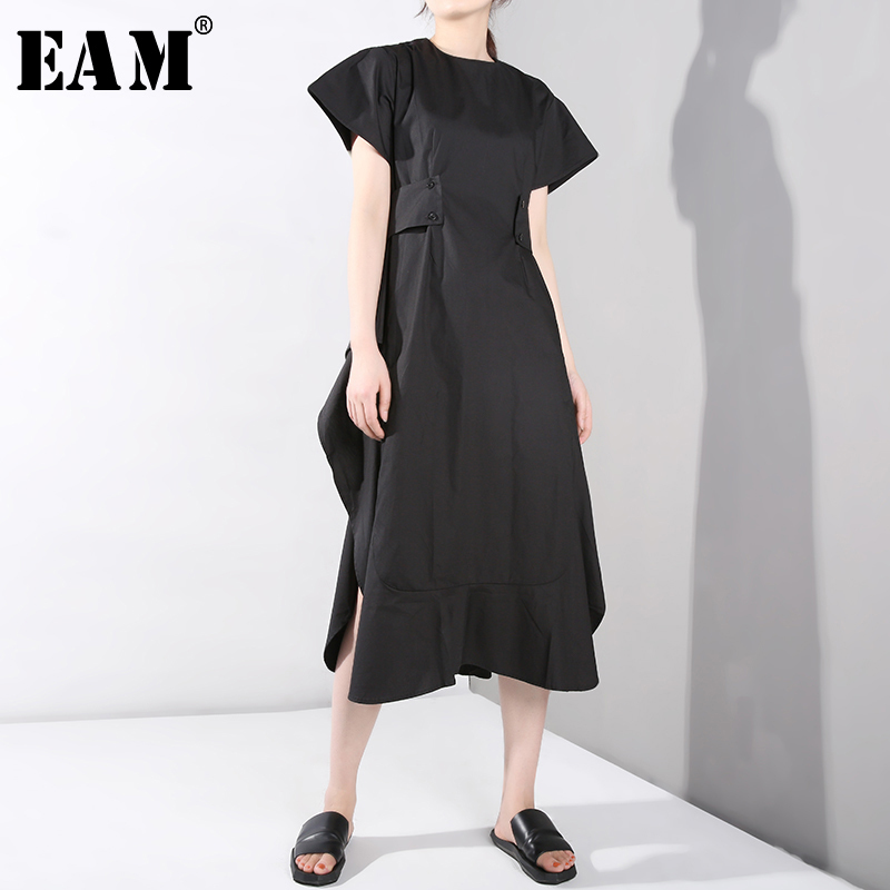 [EAM] 2020 New Spring Summer Round Neck Short Sleeve Black Side Vent Bandage Ruffles Loose Dress Women Fashion Tide JS5680