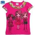 2 colores nova niños 2015 niña camiseta chica de moda de verano patrón de la muchacha de la camiseta niños desgaste superior tee ropa nova kids wear