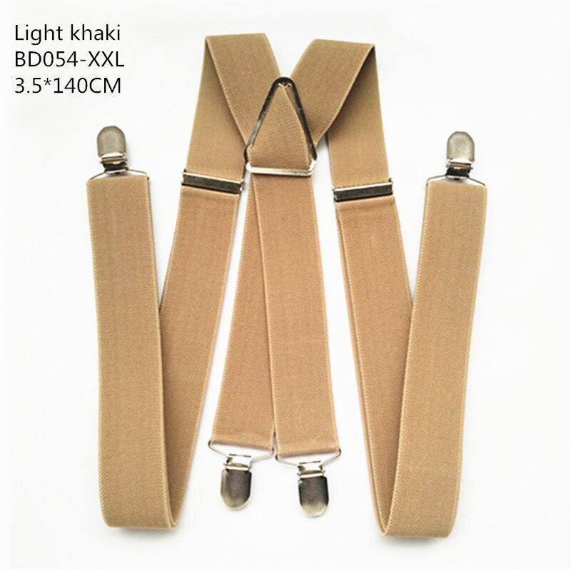 Одноцветные подтяжки унисекс для взрослых, мужские XXL, большие размеры, 3,5 см, ширина, регулируемые эластичные, 4 зажима X сзади, женские брюки, подтяжки, BD054 - Цвет: Light khaki-140cm