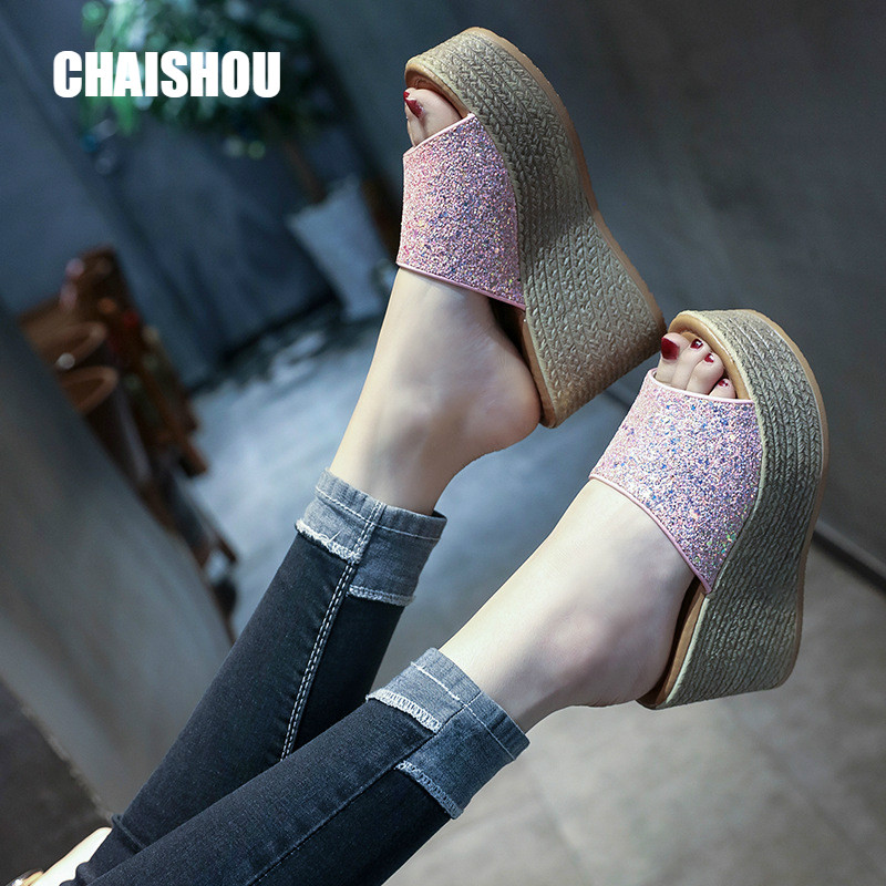 CHAISHOU <font><b>Shoes</b></font> <font><b>Women's</b></font> <font><b>Slippers</b></font> 2019 new <font><b>Sexy</b></font> <font><b>High</b></font> <font><b>heel</b></font> <font><b>Wedges</b></font> Platform Designer <font><b>Shoes</b></font> <font><b>Woman</b></font> Beach <font><b>Slippers</b></font> Zapatos Mujer CS-287 image