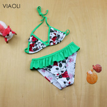 1867c80b60 2018 Cute Floral Printed Girls Bikini Set New Arrivals Two-piece Swim  Bathing Suit for Teenager Plus Size Kids Beach Swimwear