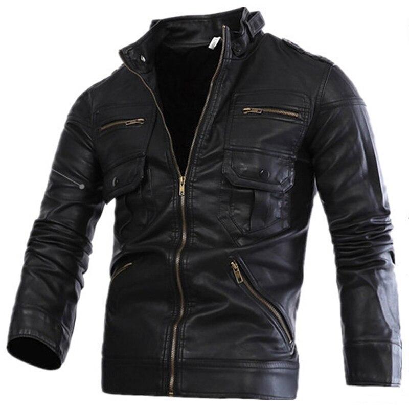 2018 nouveau Style russe hommes Zipper veste en cuir et manteaux Slim Fit homme moto Avirex vestes en cuir hommes vêtements S2156 - 5