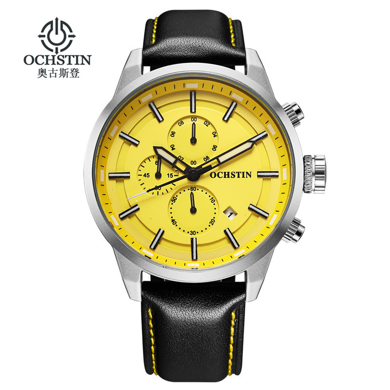 OCHSTIN Sport Watches for Men Fashion Casual Chronograph Watches Men Leather Sport Male Quartz-Watch Male Clock Hour Yellow Face