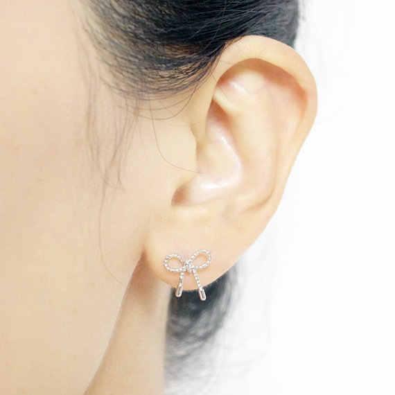 Jisensp New Arrival Little Twist Bow Knot Stud Earrings for Women Jewelry Simple Earrings boucle d'oreille femme 2018 E049