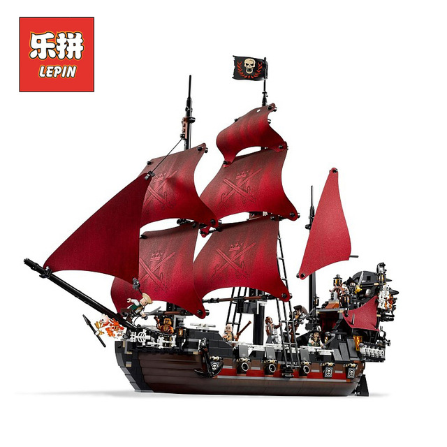 lepin 16009 Movies Series New Pirate ship Queen Annes revenge Pirates of the Caribbean Building Blocks Bricks 4195 Children Toy
