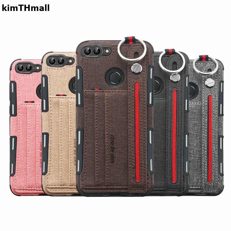 Case For Huawei P Smart Cover luxury hand Strap Card slot Shock Proof Soft case For Huawei P Smart 2018 FIG-LX1 case kimTHmall