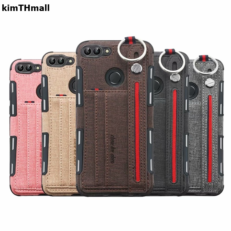 Case For Huawei <font><b>P</b></font> <font><b>Smart</b></font> Cover luxury hand Strap Card slot Shock Proof Soft case For Huawei <font><b>P</b></font> <font><b>Smart</b></font> 2018 FIG-LX1 case kimTHmall image