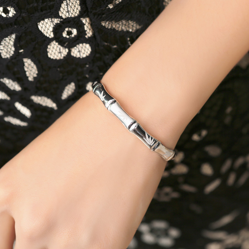 Женский модный изящный Открытый 100% 999 серебряный модный браслет браслеты с бамбуковым принтом знаменитый браслет, женская бижутерия подарок - 4