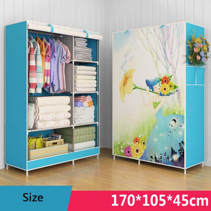 3D Cartoon Pattern Folding Cloth Wardrobe Closet Children Room Decorate Storage Cabinet Bedroom Assembly Wardrobe Home Furniture