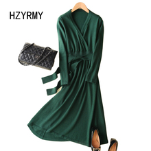 цена HZYRMY Spring and Autumn New Women's Cashmere Sweater Dress V-Neck Fashion Long Solid Color Dress Wool Knit Pullover Loose Skirt