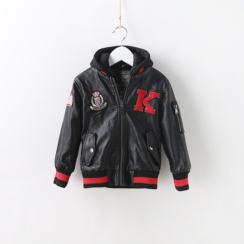 Spring Autumn Kids Jacket PU Leather boy Jackets Clothes Children Outwear For Baby boys LETTER EMBRIODERY jackets 902 2 14t baby boy clothes boys jacket leather spring letter boys outwear for children kids coats for boys baseball sweatershirt