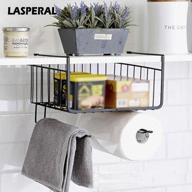 LASPERAL Multifunction Kitchen Cabinet Drawer Organizer Basket Creative Over Door Storage Rack Paper Towel Roll Storage & LASPERAL Multifunction Kitchen Cabinet Drawer Organizer Basket ...