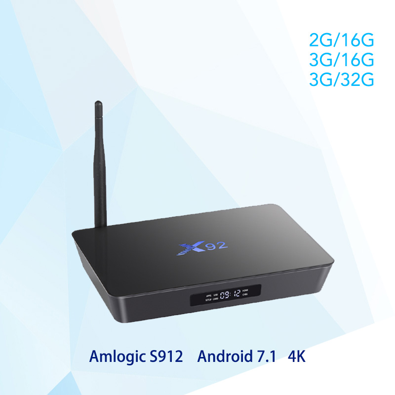 X92 Android 7. 1 Smart TV Box 2 GB/3 GB DDR3L 16/32 GB eMMC Amlogic S912 Octa-core CPU 5G Wifi 4 Karat H.265 Bluetooth HDMI 2,0 USB 2,0