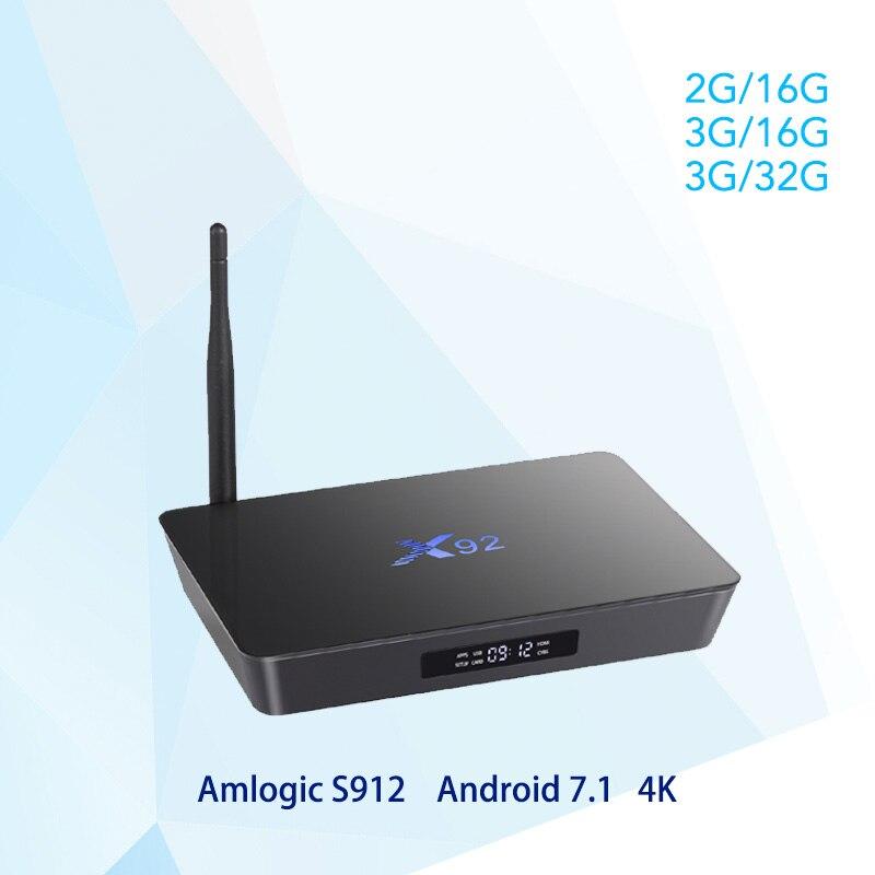 X92 Android 7. 1 Smart TV Box 2GB/3GB DDR3L 16/32GB eMMC Amlogic S912 Octa Core CPU 5G Wifi 4K H.265 Bluetooth HDMI 2.0 USB 2.0