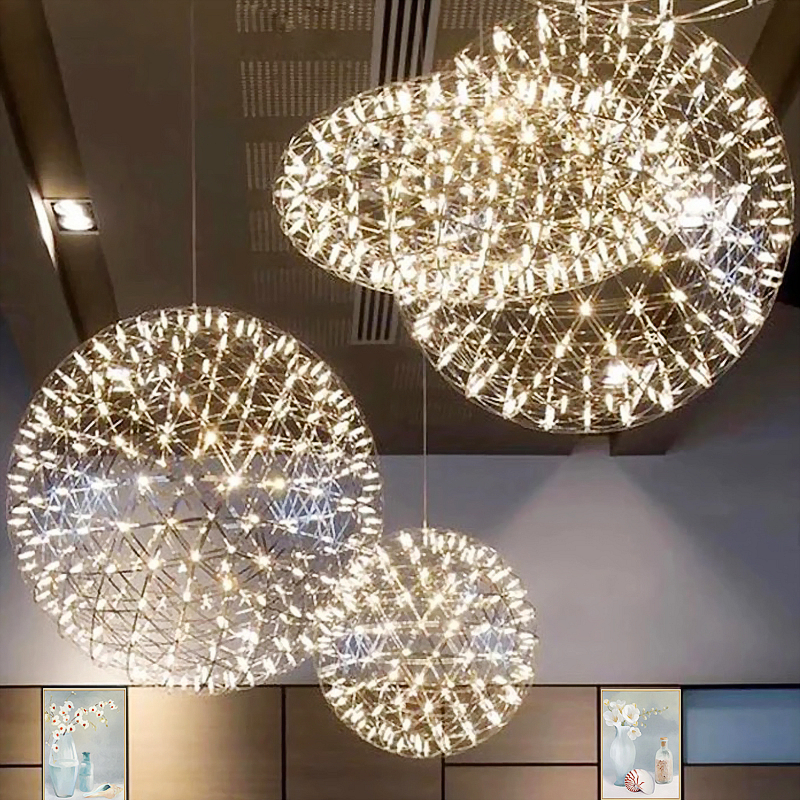 led firework light Stainless Steel firework ball pendant lights Modern Creative restaurant hotal lighting villa lamps 20cm-90cm цена
