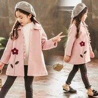 Kid Girl Jackets Winter Wool Coat for Girls Teens Autumn Jacket Warm Outerwear Children Girls Floral Windbreaker 4 13 Year
