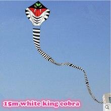 Высококачественный воздушный змей для активного отдыха на открытом воздухе, 15 м, белый, длинный Змеиный змей/воздушный змей кобры с ручкой, хороший Летающий в качестве подарка или игрушки