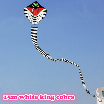 New High Quality Outdoor Fun Sports 15 m White Long Snake Kites/Power Cobra Kite With Handle Line Good Flying As Gift Or Toy