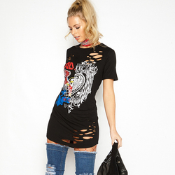 PEONFLY Black Long t Shirt Women Summer Short Sleeve t-shirt Female Punk Rock tshirt Women Graphic Tops Tee Shirt Femme 3