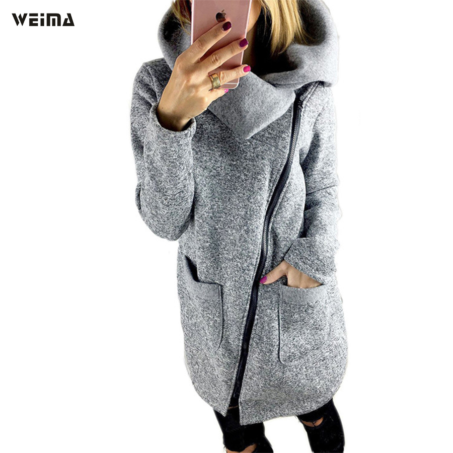 Women's autumn and winter 2017 lapel long-sleeved knit sweatshirt with a zipper pocket fashion casual European-style coat 2016 autumn winter fashion big lapel casual woman long style coat