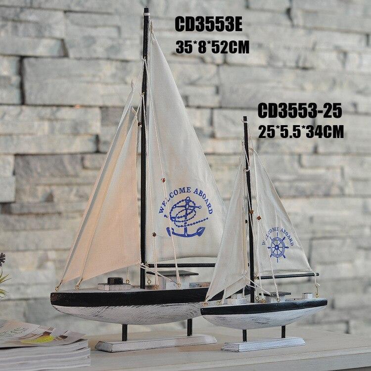 Wooden Ship Model <font><b>Home</b></font> <font><b>Decoration</b></font> Mediterranean Style Single Sailing Ship Model Birthday Gift Mediterranean Style Desk Ornaments