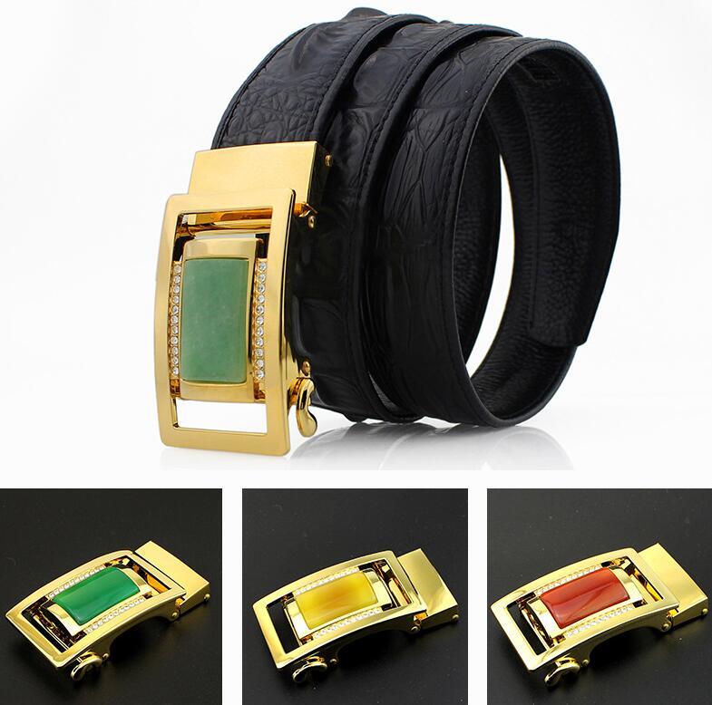 New Luxury Jade Stone Rhinestone Men's jade belt with gold inlaid jade crocodile embossed head layer belt with jade buckle belts