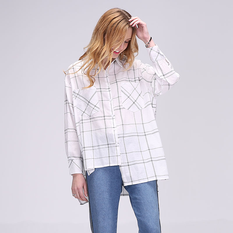 Dioufond Irregular Cotton Plaid   Blouses     Shirt   Women Loose Long Sleeve Tops With Pockets Korean Style White Plaid Clothing 2018