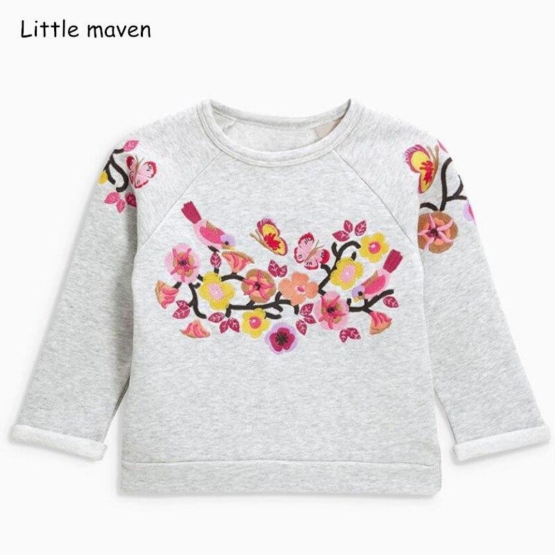 Little maven enfants marque bébé fille vêtements 2018 automne nouvelles filles coton à manches longues épais à fleurs t-shirt C0113