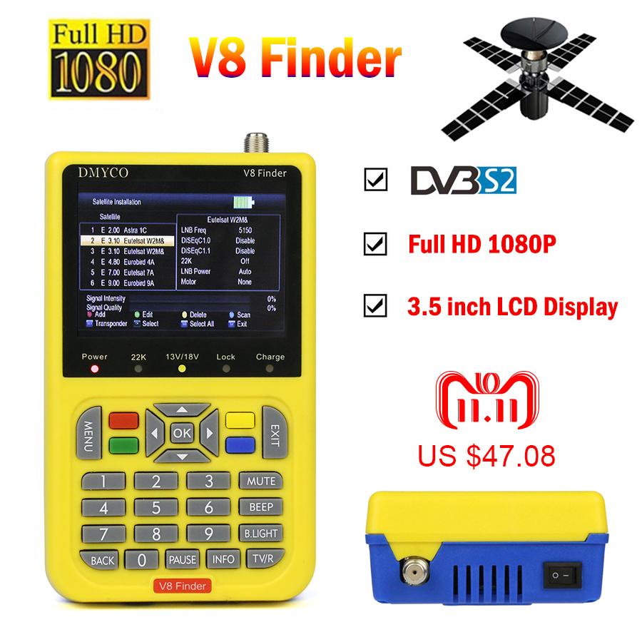 цены на V8 Finder HD satfinder DVB-S2 High Definition Satellite Finder MPEG-4 DVB S2 Satellite Meter Full 1080P V8 Finder lnb sat finder
