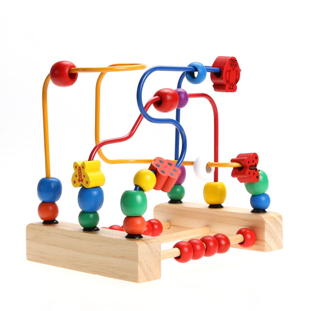 Wooden Toys for Children's Education Wooden Blocks Bead Maze Baby Early Learning Kids Gift Colorful wooden bead maze math toy kids early educational montessori toy baby children bead rollercoaster round wire maze puzzle toy gift