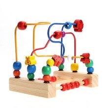 Brinquedos de madeira para Crianças Do Bebê Early Learning Educação Blocos De Madeira Bead Labirinto Labirinto das Crianças Presente Colorido