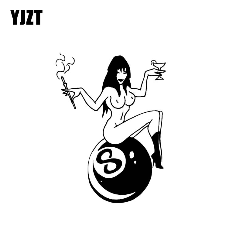YJZT 10.4*14CM Sexy Billiards Smoking Girl Car Sticker Black/Silver Vinyl Zero Defect Decal Cool Style Fashion Design C20-0514