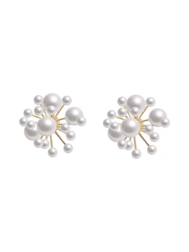 2019 new design fashiona jewelry elegant multiple white pearl stud earrings wedding party earrings for Girls gift for woman