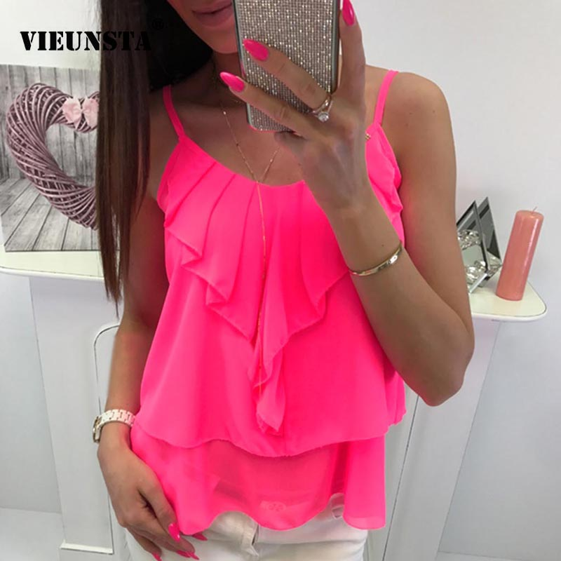 VIEUNSTA Sexy Tiered Ruffles Vest Top Chiffon Blouses Woman Solid Color Strap Blouse Shirt Summer O Neck Sleeveless Beach Blusas