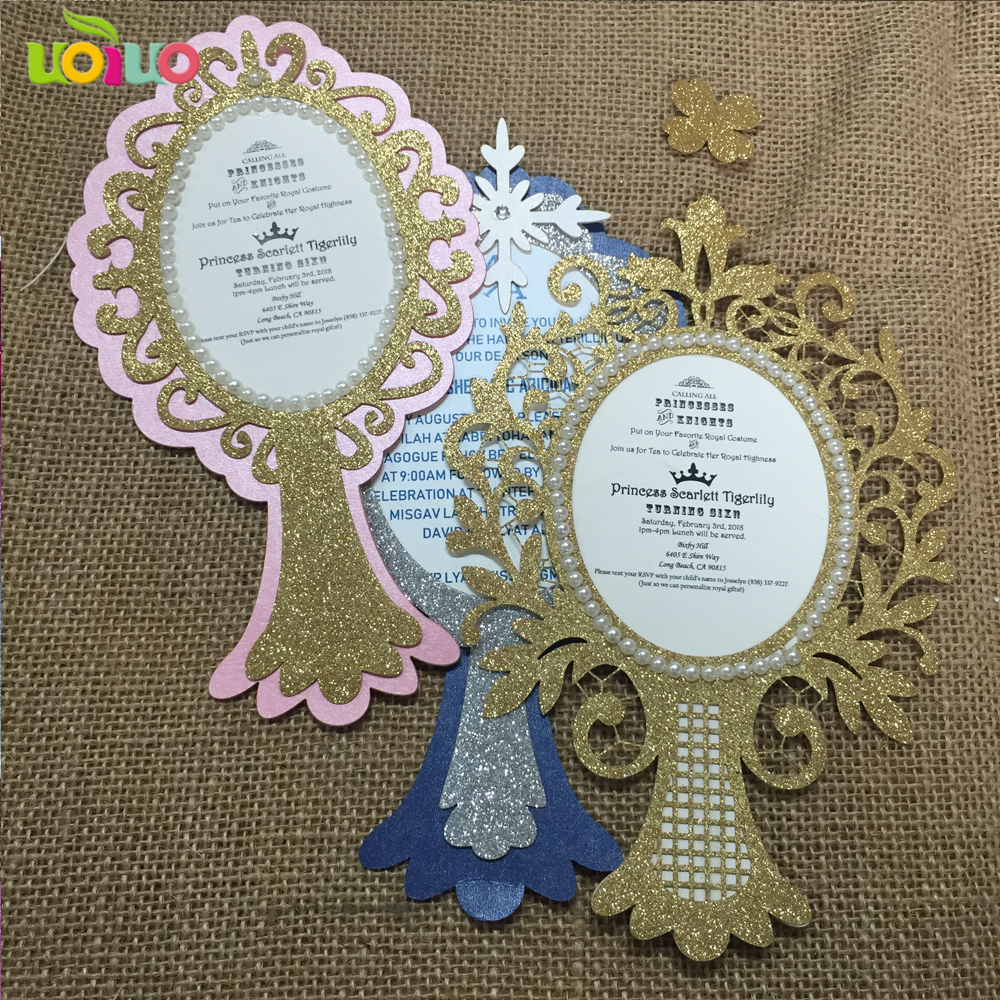 DIY personalizado 50 set de tarjetas impresas + brillo oro plata papel en blanco + pequeños diamantes de imitación-in Tarjetas e invitaciones from Hogar y Mascotas    1