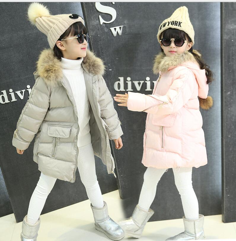 2018 fashion princess Thick Warm Fur Girls Winter Coat warm Child Winter Jacket outwear For Girls Baby Kids Cotton Parkas Down pcora down jacket for girls winter female child outwear khaki warm girl clothing size 3t 14t 2017 pink parka coat for baby girls
