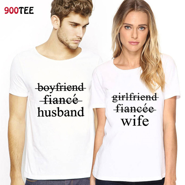 356c57a1abbca US $6.89 10% OFF|New Brand T shirt for Couple Letter Print Husband Wife  Short Sleeve Funny T Shirt Women Loose Couple Clothes Camisetas Mujer-in ...