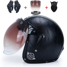 Adulto capacetes de couro 3/4 capacete da motocicleta de alta qualidade chopper bicicleta capacete aberto rosto do vintage capacete da motocicleta motocros