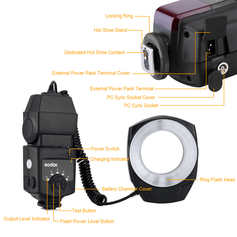 Image 3 - Godox ML 150 Macro Ring Flash Speedlite Guide Number 10 with 6 Lens Adapter Rings for Canon Nikon Pentax Olympus Sony cameras-in Flashes from Consumer Electronics