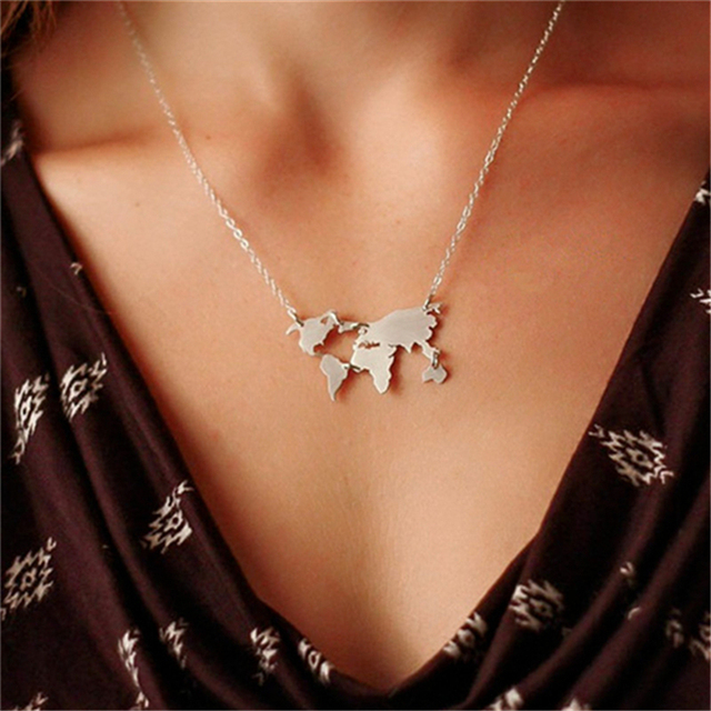 Fashion jewelry World Necklace Earth Day Gift World Map Necklace world map penda