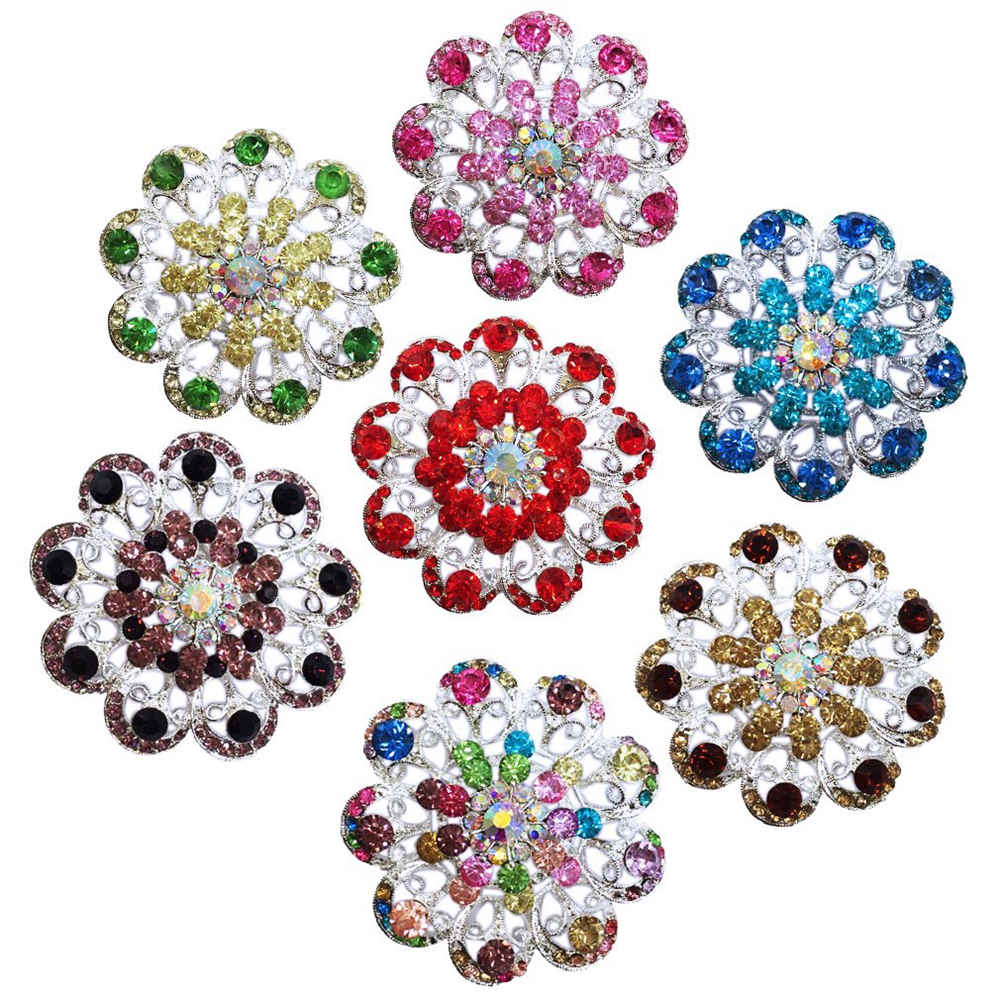 Fashion Jewelry Safety Brooches Pins For Women Crystal Flower Brooch Pin Birthday Gift Garment Accessories BA054