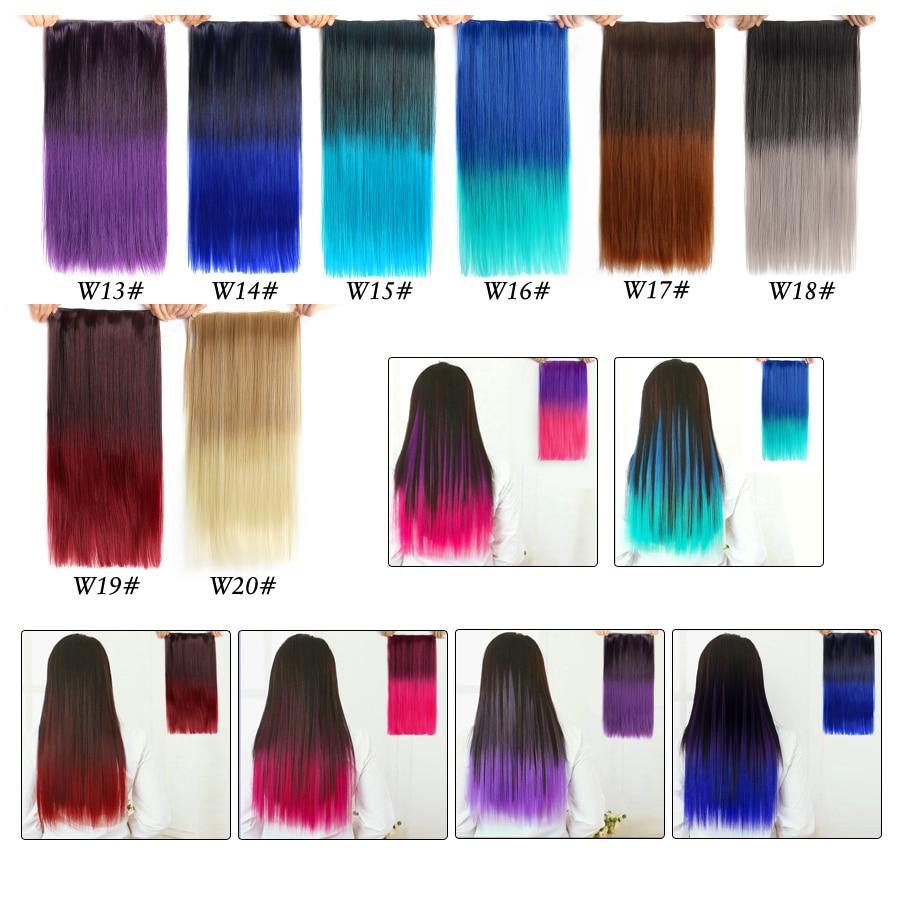 Alileader 60cm Hair Kanekalon Synthetic Extension Straight Blue Clip