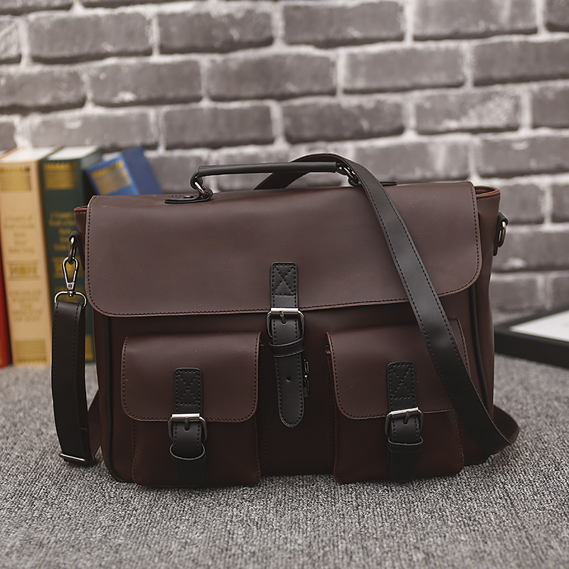 New Crazy Horse Leather Business Men's Briefcase Male Fashion Shoulder Bag Men Messenger Bag Boy Casual Tote Computer Handbag