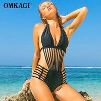 OMKAGI Solid One Piece Swimsuit Women Swimwear Sexy Stripe Push Up Bodysuit Bathing Suit Summer Beachwear