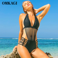 OMKAGI Solid One Piece Swimsuit Women Swimwear Sexy Stripe Push Up Bodysuit Bathing Suit Summer Beachwear