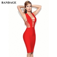 Factory Price Sexy Hollow Out Deep V Neck Bandage Dress Sheath Zipper Red Dresses Celebrity Party Club Sleeveless Knit Vestido
