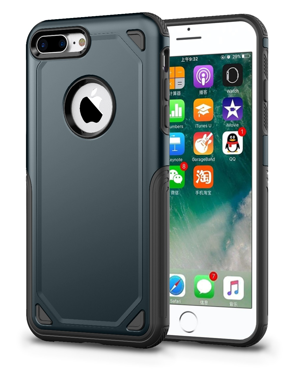 iPhone 8 7 6 6s Plus X PC + Silicone TPU Military Anti Shock Camouflage Armor Case for iPhone X Armour Defend Cover