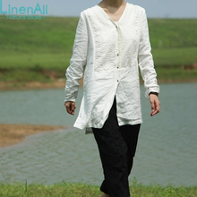 LinenAll Linen clothing women s white jacquard Chinese style double breasted autumn medium long top T