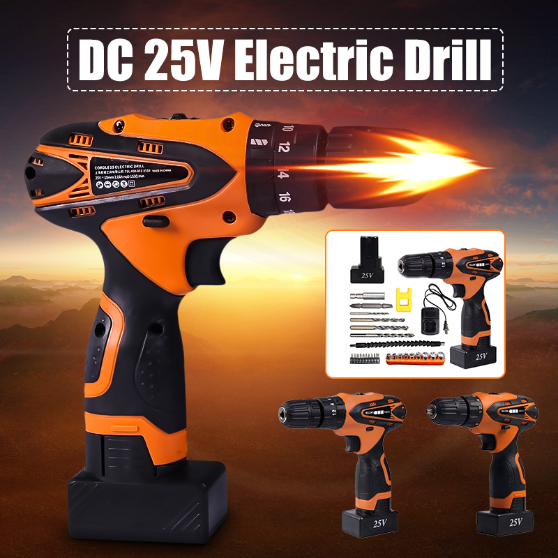 DC 25V Cordless Impact Electric Drill Lithium Battery Electric Drill Power Drills with Screwdriver Bit Accessories Set For Wood цена