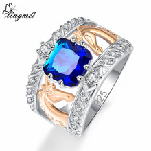 lingmei New Comes Princess Cut Royal Blue & White Cubic Zirconia Silver Color Ring Size 6 7 8 9 Fashion Women Jewelry Wedding